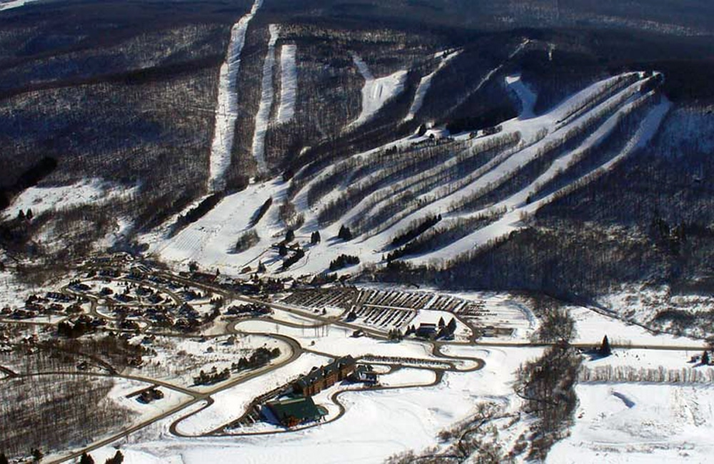 An aerial view of the largest ski resort in Central New York. | Photo from Greek Peak Mountain Resort