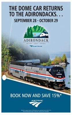The Great Dome Car returns to the Adirondacks Sept. 28 - Oct. 29. Book now and save 15%.