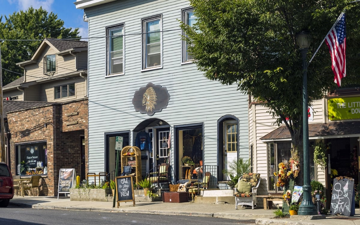 A peek at the shops including The Blackbird and Little Flower shop on Main St. in Highland. | Photo by Andrew Frey