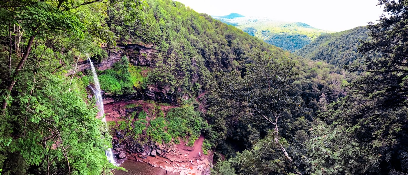 A beautiful view of Kaaterskill Falls in the Great Northern Catskills from atop the viewing platform. | Photo by Lauren Sandford