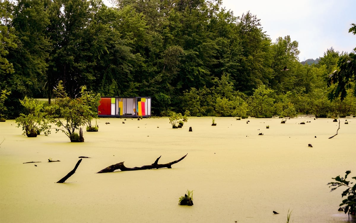 A glimpse of Rob Fischer's site-specific installation, Omi Pond House at Art Omi in Columbia County. | Photo by Andrew Frey
