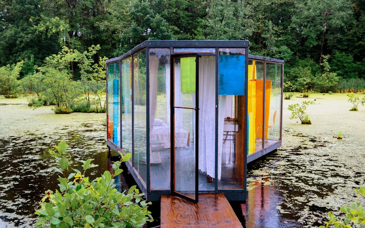 Rob Fischer's Omi Pond House, a site-specific sculptural installation inspired by the artist's visit to Art Omi. | Photo by Andrew Frey