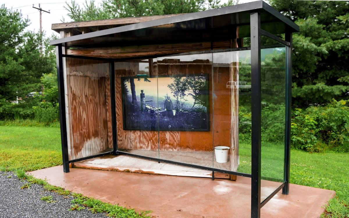 Dennis Adams' Bus Shelter XI (Heidegger), an installation that examines the relationship of art and urban environment at Art Omi in Columbia County. | Photo by Andrew Frey