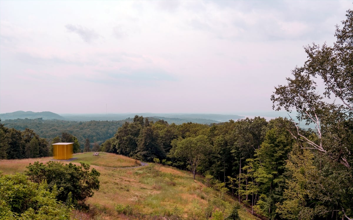 A gorgeous view of the property and the mighty Hudson from the western porch at Olana State Historic Site. | Photo by Andrew Frey