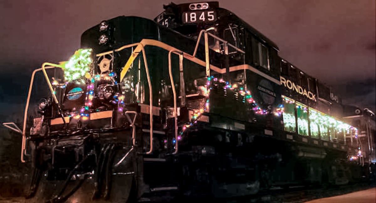 The Polar Express lit up and ready for a trip to the North Pole.   Photo from Adirondack Scenic Railroad Polar Express