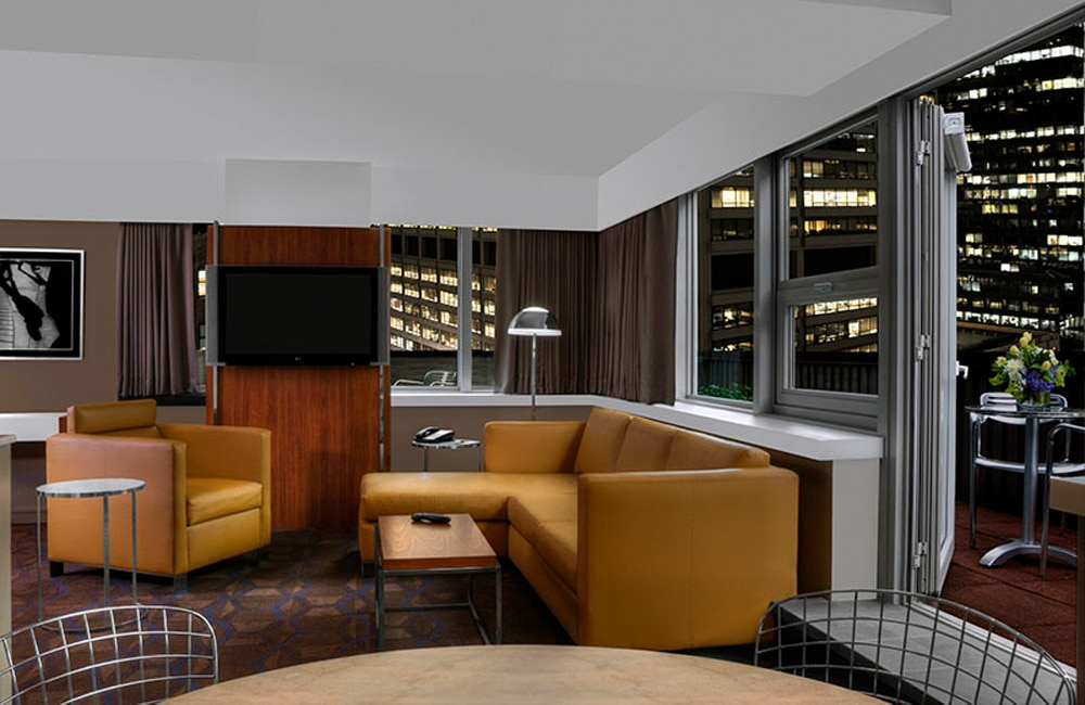 A beautiful, modern lounge in one of the spacious guest rooms at DoubleTree Metropolitan.   Photo from DoubleTree by Hilton: Metropolitan - New York City