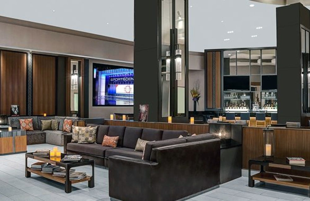 The AdLib Lounge at DoubleTree Suites Times Square. | Photo from DoubleTree Suites by Hilton: New York City - Times Square