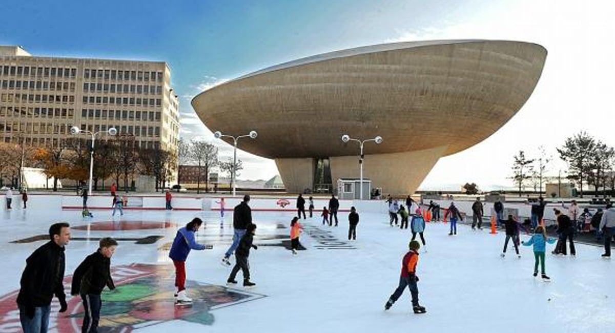 People zip by while outdoor skating at Empire State Plaza. | Photo from I Love NY