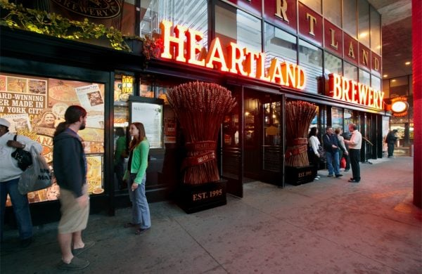 The entrance to one of three Heartland Brewery locations in New York City, NY.