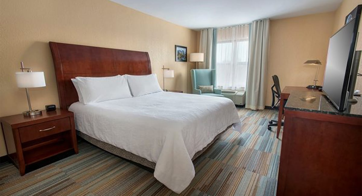 A spacious, contemporary guest room, available with Queen or King-sized beds. | Photo from Hilton Garden Inn at Albany Medical Center