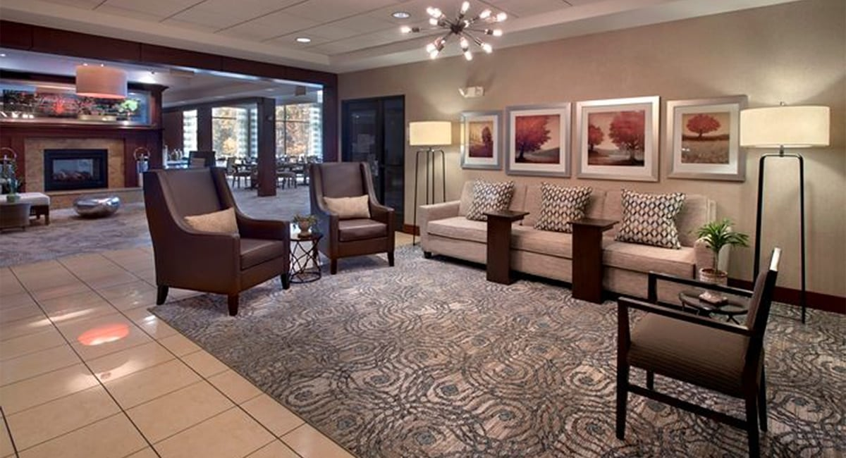 The Albany hotel's cozy lobby and lounge. | Photo Courtesy of Hilton Garden Inn at Albany Medical Center.