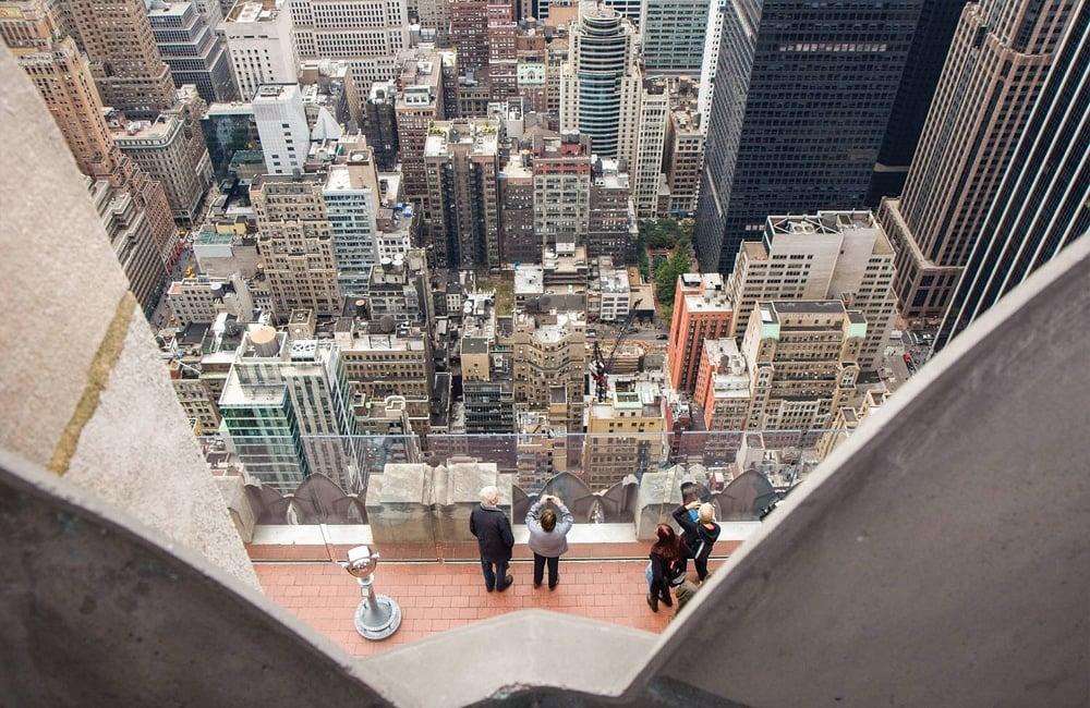 "The ""Top of the Rock"" one of New York City's observation decks at 30 Rockefeller Plaza in New York City, NY. 