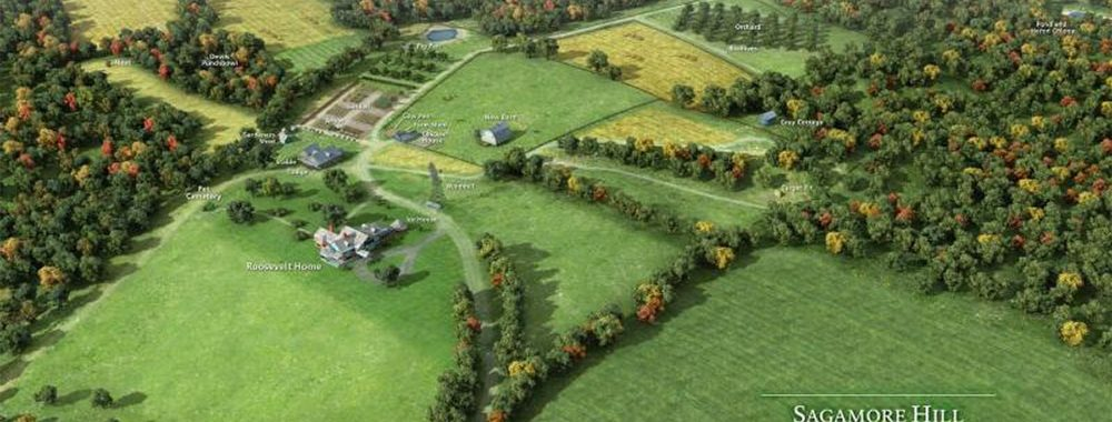 An aerial view of the historic 83 acres in Oyster Bay, NY.   Photo from Sagamore Hill National Historic Site