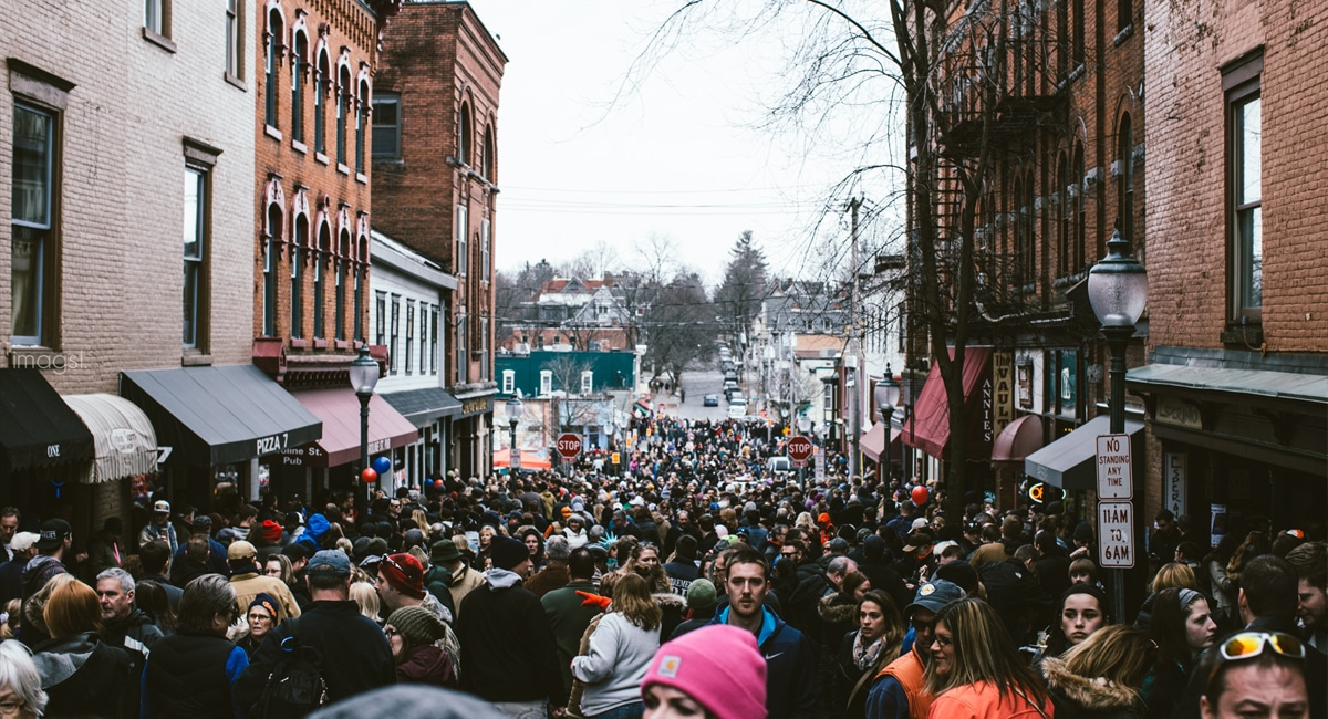 Crowds of people at Chowderfest in Downtown Saratoga. | Photo from Discover Saratoga