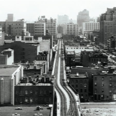 The High Line as an elevated rail corridor<br /> during the mid-20th Century. | Photo from New York City Municipal Archives