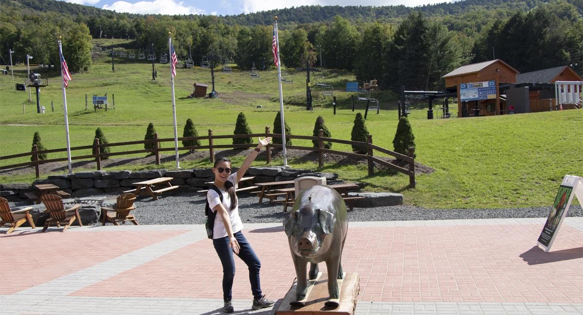 Allyson and Pig Statue at Windham | Allyson Macci