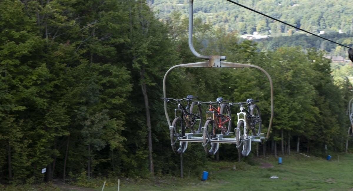 Bikes on the Ski Lift at Windham | Allyson Macci
