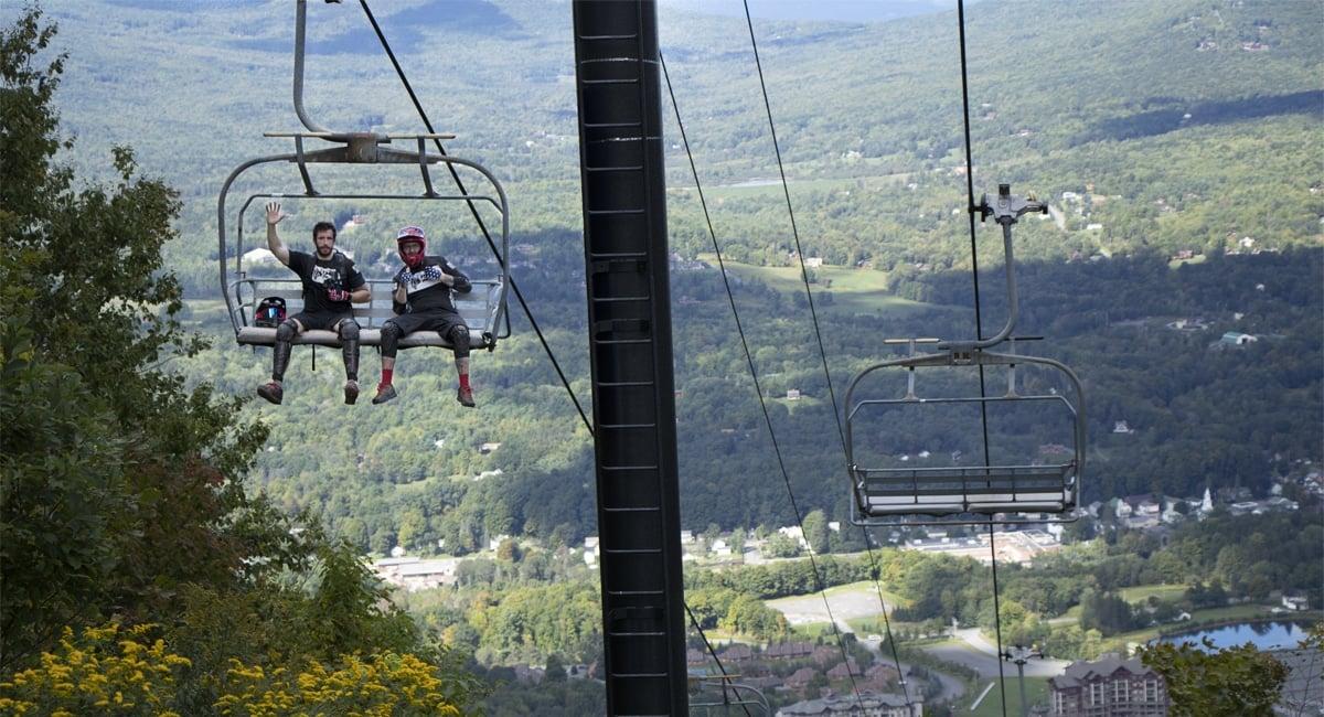 Two Bikers on the Ski Lift at Windham | Allyson Macci