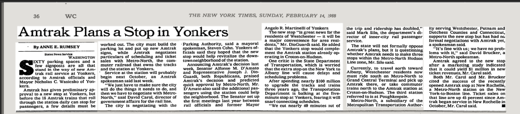 Amtrak Plans a Stop in Yonkers | New York Times