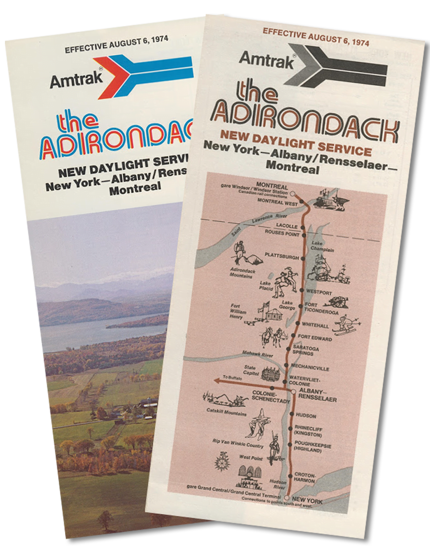 Service announcements for The Adirondack from 1974. | Photo Courtesy of Amtrak