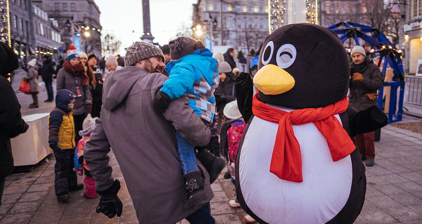 Montréal en Fêtes - Merry Montréal | Families enjoy winter fun at the Nordic Square in Old Montréal.