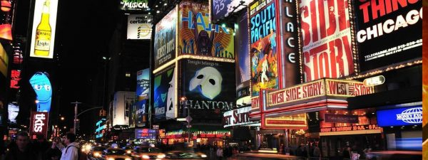 Times Square displaying advertisements for Broadway Shows